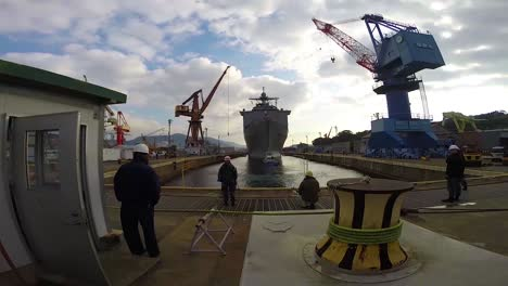 Time-Lapse-Of-A-Navy-Ship-Going-Into-Drydock
