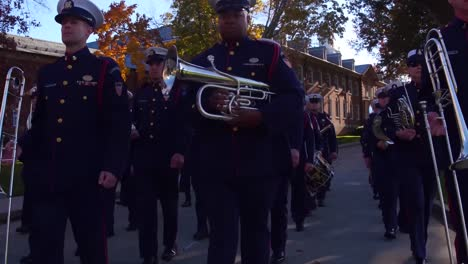 The-Us-Coast-Guard-Marching-Band-Playing-And-Marching-In-Formation