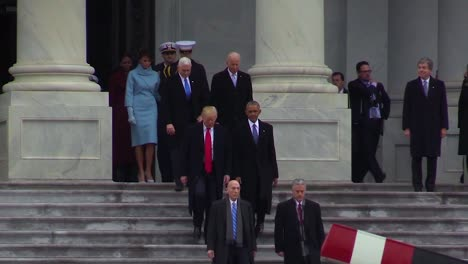 Newly-Appointed-President-Donald-J-Trump-Says-Farewell-To-The-Former-President-Of-The-United-States-Barack-H-Obama-On-The-East-Front-Plaza-Of-The-Us-Capitol-On-Jan-20-2017