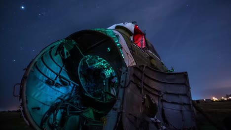 Great-Time-Lapse-Shots-Through-A-Junkyard-Or-Boneyard-Of-Abandoned-Airplanes-At-Night