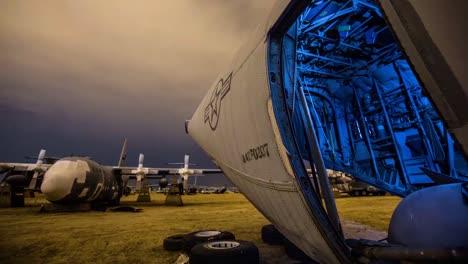 Great-Time-Lapse-Shots-Through-A-Junkyard-Or-Boneyard-Of-Abandoned-Airplanes-At-Night-7