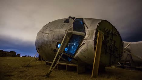 Great-Time-Lapse-Shots-Through-A-Junkyard-Or-Boneyard-Of-Abandoned-Airplanes-At-Night-9