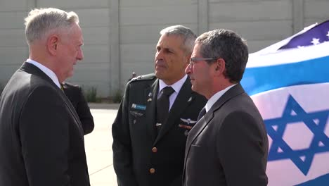 Us-Secretary-Of-State-Jim-Mattis-Meets-Israeli-Officials-Beside-Air-Force-One-On-The-Tarmac-In-Israel-1