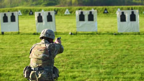 A-Soldier-Fires-A-Pistol-During-A-Target-Practice-Marksmanship-Competition