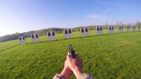 Pov-As-A-Soldier-Fires-A-Pistol-During-A-Target-Practice-Marksmanship-Competition