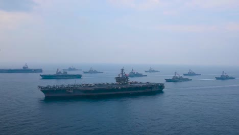 An-Aerial-Over-The-Us-Carl-Vinson-Strike-Group-Moving-Across-The-Sea-Of-Japan