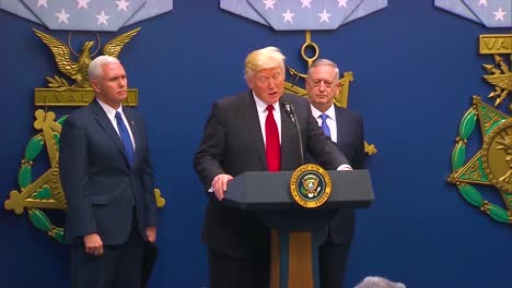 President-Donald-Trump-Makes-Remarks-At-The-Swearing-In-Ceremony-Of-General-Jim-Mattis-At-The-Department-Of-Defense