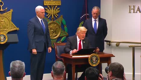 President-Donald-Trump-Signs-A-Bill-To-Strengthen-The-Us-Military-With-Vice-President-Pence-And-Secretary-Of-Defense-Jim-Mattis-Looking-On
