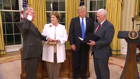 Vice-President-Mike-Pence-Swears-In-Secretary-Of-State-Rex-Tillerson-With-President-Donald-Trump-Looking-On