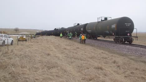 Field-Investigators-From-The-Ntsb-Investigate-An-Oil-Tanker-Train-Wreck-Crash-Near-Graettinger-Iowa-8