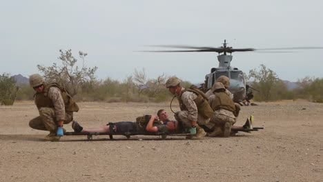 Us-Marines-Take-Part-In-A-Training-Exercise-Where-They-Must-Treat-Simulated-Injuries