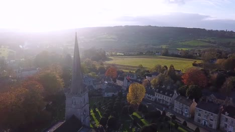 An-Aerial-Shot-Of-A-Town-In-The-Uk-Has-A-Church-As-Its-Focal-Point