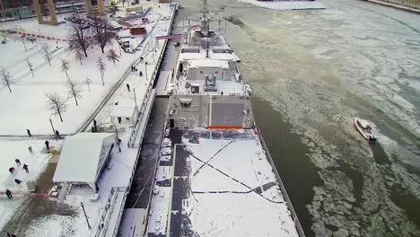 Drone-Footage-Shows-The-Uss-Little-Rock-Docked-In-Buffalo-New-York-Covered-In-Snow