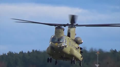 A-Us-Army-Chinook-Helicopter-Hovers-Over-The-Katter-Bach-Army-Airfield-In-Germany
