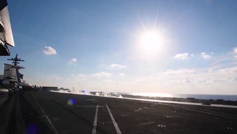An-Aircraft-Moves-To-Lift-Off-From-The-Deck-Of-The-Uss-George-Hw-Bush