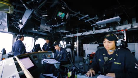 Us-Navy-Sailors-Sit-At-The-Controls-Of-The-Uss-Gabrielle-Giffords