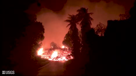 Night-Footage-Of-The-2018-Eruption-Of-The-Kilauea-Volcano-On-The-Main-Island-Of-Hawaii-Covering-A-Road