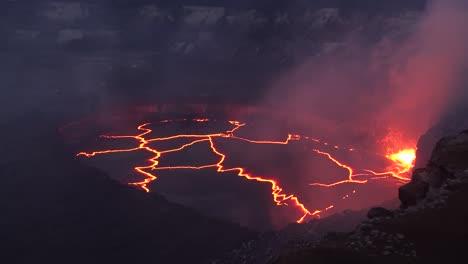 Night-High-Angle-Shot-Over-The-Summit-Vent-Lava-Lake-On-Kilauea-Volcano-Erupting-Hawaii
