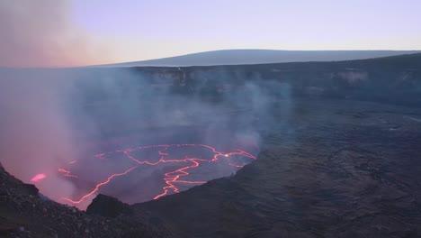 Panning-High-Angle-Shot-Over-The-Summit-Vent-Lava-Lake-On-Kilauea-Volcano-Erupting-Hawaii