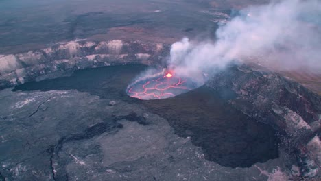 Amazing-Aerial-Shot-Over-The-Summit-Vent-Lava-Lake-On-Kilauea-Volcano-Erupting-Hawaii