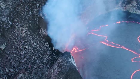 Amazing-Aerial-Shot-Over-The-Summit-Vent-Lava-Lake-On-Kilauea-Volcano-Erupting-Hawaii-1