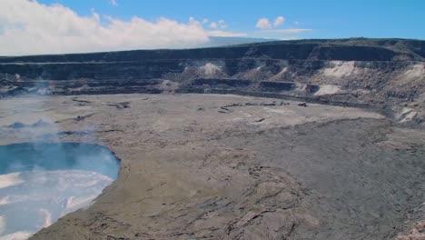 Panning-High-Angle-Shot-Over-The-Summit-Vent-Lava-Lake-On-Kilauea-Volcano-Erupting-Hawaii-1