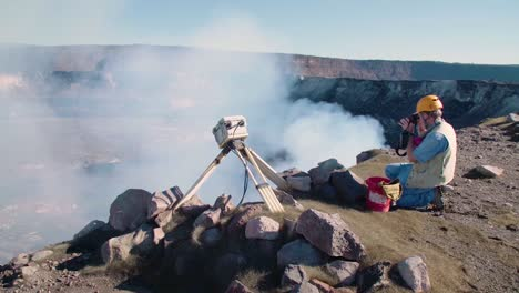 Researchers-Use-Precision-Equipment-At-The-Rim-Of-Kilauea-Volcano-To-Study-Magma-Flow-At-The-Lava-Lake-At-The-Hawaiian-Volcano-Observatory-Hawaii