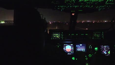 Footage-Shows-The-View-From-The-Cockpit-As-C17-Takes-Off-From-An-Air-Base