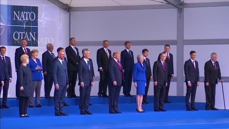 Us-President-Donald-Trump-Poses-With-International-Dignitaries-At-The-Nato-Summit-In-Brussels-Belgium