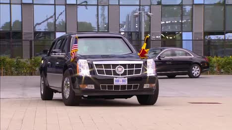 Us-President-Donald-Trump-Presidential-Limousine-Sits-Outside-A-Building-At-The-Nato-Summit-In-Brussels-Belgium