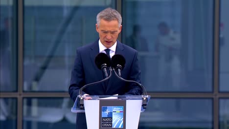 Nato-Secretary-General-Jens-Stoltenberg-Gives-A-Speech-At-The-Summit-In-Brussels-Belgium