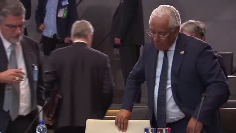 Portugal-Prime-Minister-AntãNio-Costa-Is-Seated-At-The-Nato-Summit-In-Brussels-Belgium