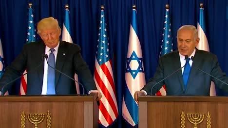 El-Presidente-Estadounidense-Donald-Trump-Y-El-Primer-Ministro-De-Israel-Benjamin-Netanyahu-Intercambian-Comentarios-Durante-La-Visita-Presidencial-A-Jerusalén-1
