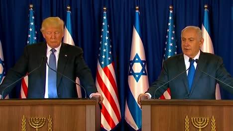 El-Presidente-Estadounidense-Donald-Trump-Y-El-Primer-Ministro-De-Israel-Benjamin-Netanyahu-Intercambian-Comentarios-Durante-La-Visita-Presidencial-A-Jerusalén-3