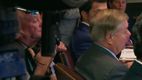 South-Carolina-Senator-Lindsey-Graham-Advises-Us-President-Donald-Trump-On-Military-Budgeting-In-The-White-House