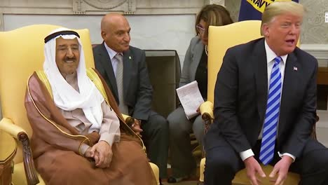 Us-President-Donald-Trump-Meets-With-The-Amir-Of-The-State-Of-Kuwait-In-The-White-House-And-Discusses-Canada-Trade-Deal-And-Tarrifs