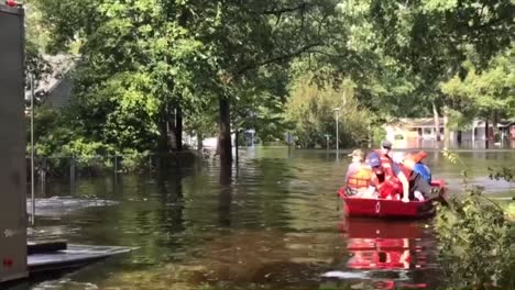 Search-And-Rescue-Personnel-In-Small-Boats-Rescue-Citizens-Of-North-Carolina-During-Hurricane-Florence