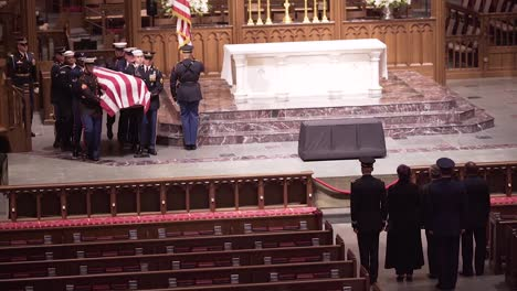 The-Casket-Coffin-Of-President-George-H-W-Bush-Is-Brought-Into-The-Capitol-With-Honor-Guard-To-Lie-In-State-During-This-State-Funeral
