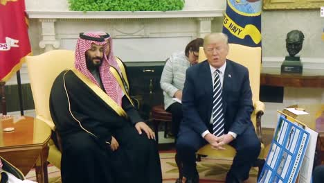 Us-President-Donald-Trump-Meets-With-Crown-Prince-Mohammed-Bin-Salman-Of-The-Kingdom-Of-Saudi-Arabia-And-Shows-Cards-Indicating-Saudi-Arabia-Buying-Huge-Amounts-Of-Arms-And-Weapons-And-Defense-Systems-From-America