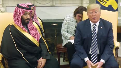 Us-President-Donald-Trump-Meets-With-Crown-Prince-Mohammed-Bin-Salman-Of-The-Kingdom-Of-Saudi-Arabia-Compliments-Saudi-Purchase-Huge-Amounts-Of-Arms-And-Weapons-And-Defense-Systems-From-America