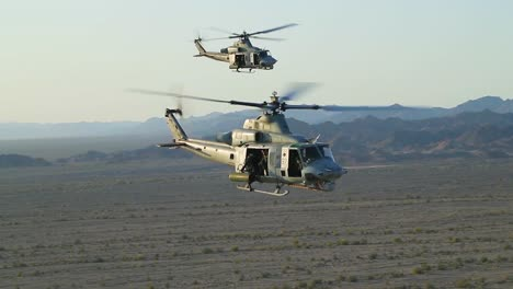 Huey-Helicopters-Fly-In-Formation-In-This-Slow-Motion-Action-Battle-Scene