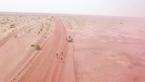 Aerials-Over-A-Simulated-Ambush-Commando-Raid-And-Hostage-Situation-On-A-Remote-African-Road-In-Niger