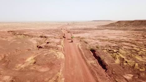 Aerials-Over-A-Simulated-Ambush-Army-Commando-Raid-And-Hostage-Situation-On-A-Remote-African-Road-In-Niger