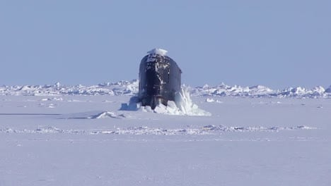 The-British-Royal-Navy-Hunter-Killer-Submarine-Hms-Trenchant-(S91)-Surfacing-Through-Ice-In-The-Arctic-Ocean