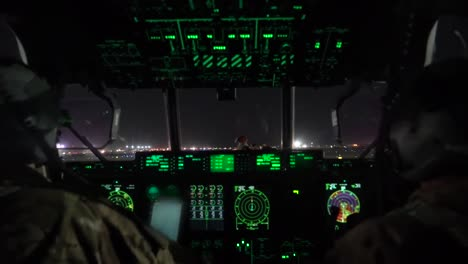 Pov-Of-A-C130-Cargo-Plane-Taking-Off-From-A-Runway-At-Night