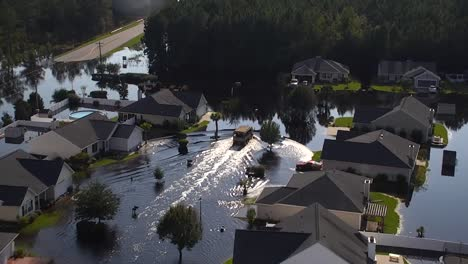 Aerial-Shot-Over-A-Flooded-Neighborhood-In-South-Carolina-In-The-Aftermath-Of-Hurricane-Florence