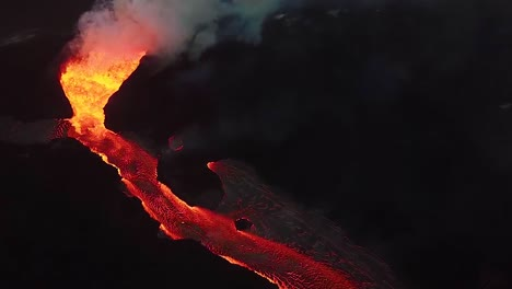 Aerial-Over-The-Kilauea-Volcano-Erupting-At-Night-With-Huge-Lava-Flows