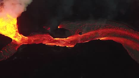 Aerial-Over-The-Kilauea-Volcano-Erupting-At-Night-With-Huge-Lava-Flows-1
