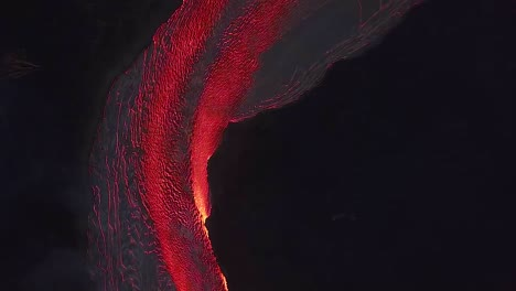 Aerial-Over-The-Kilauea-Volcano-Erupting-At-Night-With-Huge-Lava-Flows-2