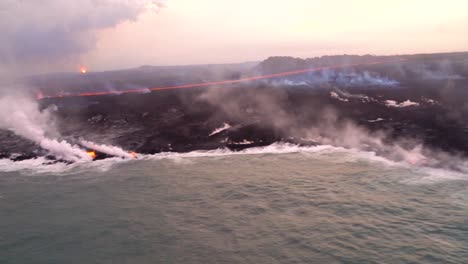Very-Good-Aerial-Of-The-Kilauea-Volcano-On-Hawaii-Eruption-With-Very-Large-Lava-Flow-Entering-Ocean-With-Smoke